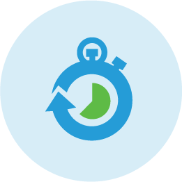 Blue and green illustrated icon of stopwatch.