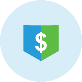 Blue and green illustrated icon of dollar sign.