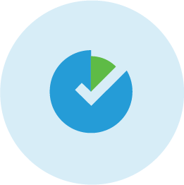 Blue and green illustrated icon of checkmark.