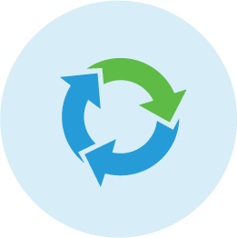 Blue and green illustrated icon of circle with recycle arrows.