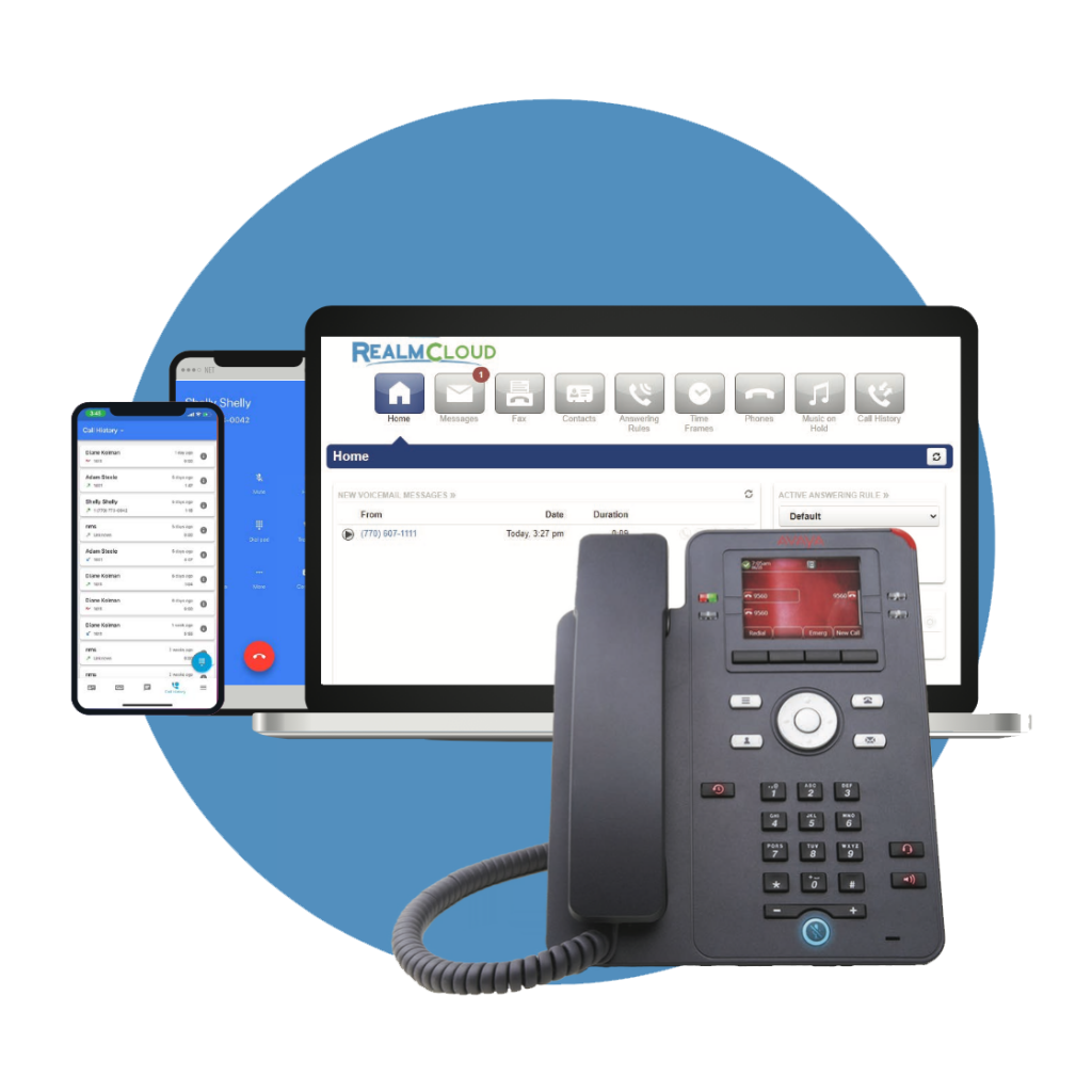 RealmCloud being used on laptop, office phone, tablet, and mobile device.